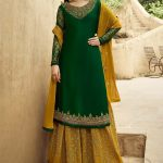 dazzling-amyra-dastur-in-green-yellow-color-georgette-sharara-suit