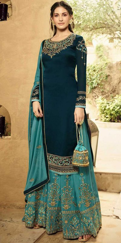dazzling-amyra-dastur-in-navy-blue-color-georgette-sharara-suit