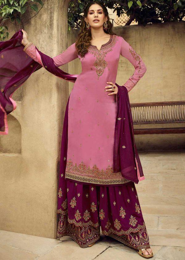 dazzling-amyra-dastur-in-pink-color-georgette-sharara-suit