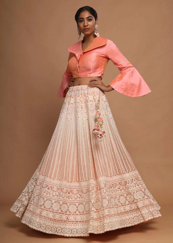 divine-peach-color-lucknowi-work-on-soft-net-lehenga-choli
