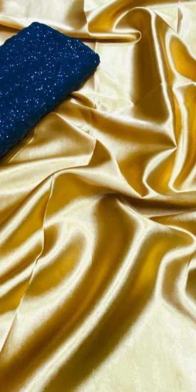 exclusive-party-wear-yellow-color-satin-silk-saree