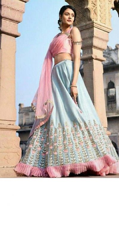 fashionable-sky-blue-color-banglory-satin-silk-fancy-lehenga