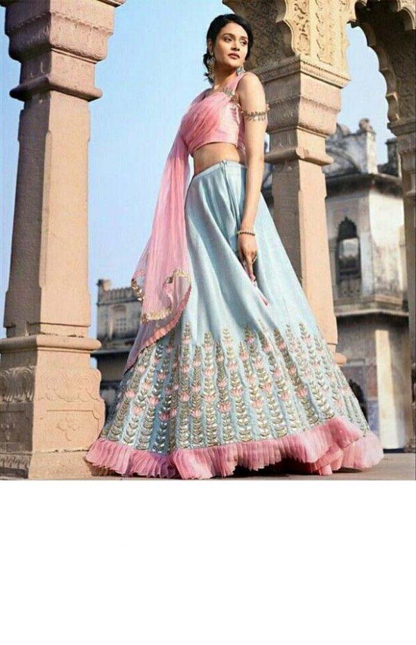 fashionable-sky-blue-color-banglory-satin-silk-fancy-lehenga