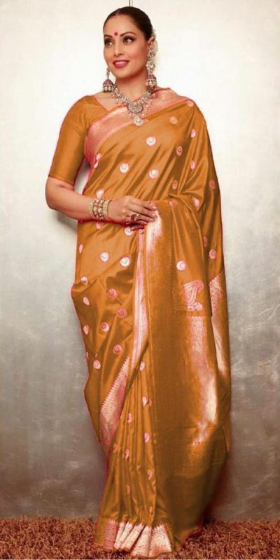 gorgeous-womens-traditional-wear-gold-color-banarasi-silk-saree