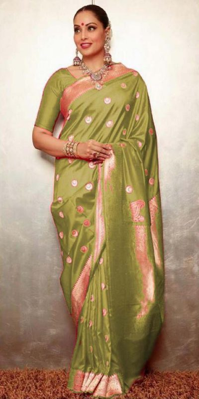 gorgeous-womens-traditional-wear-green-color-banarasi-silk-saree
