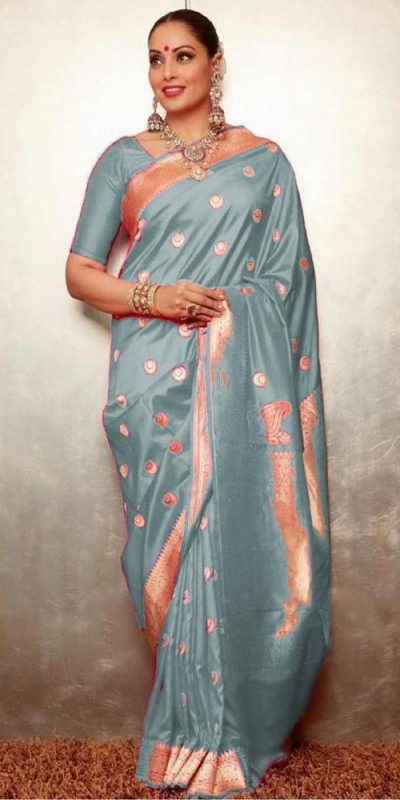 gorgeous-womens-traditional-wear-grey-color-banarasi-silk-saree