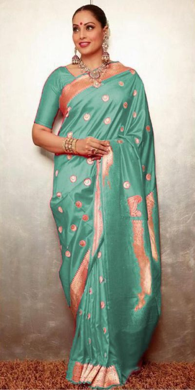 gorgeous-womens-traditional-wear-sea-green-color-banarasi-silk-saree
