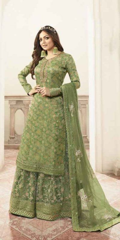 grand-look-with-green-color-heavy-jacquard-silk-georgette-plazo-suit