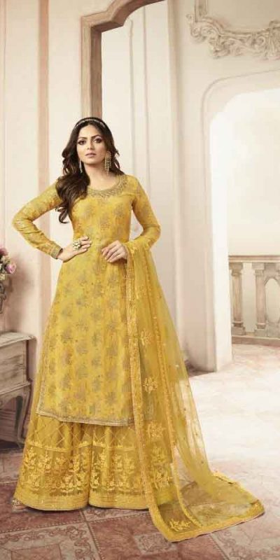 grand-look-with-yellow-heavy-jacquard-silk-georgette-plazo-suit (2)