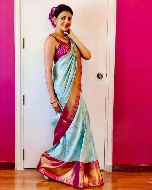 kajal-in-sky-blue-color-beautiful-rich-pallu-traditional-jacquard-saree