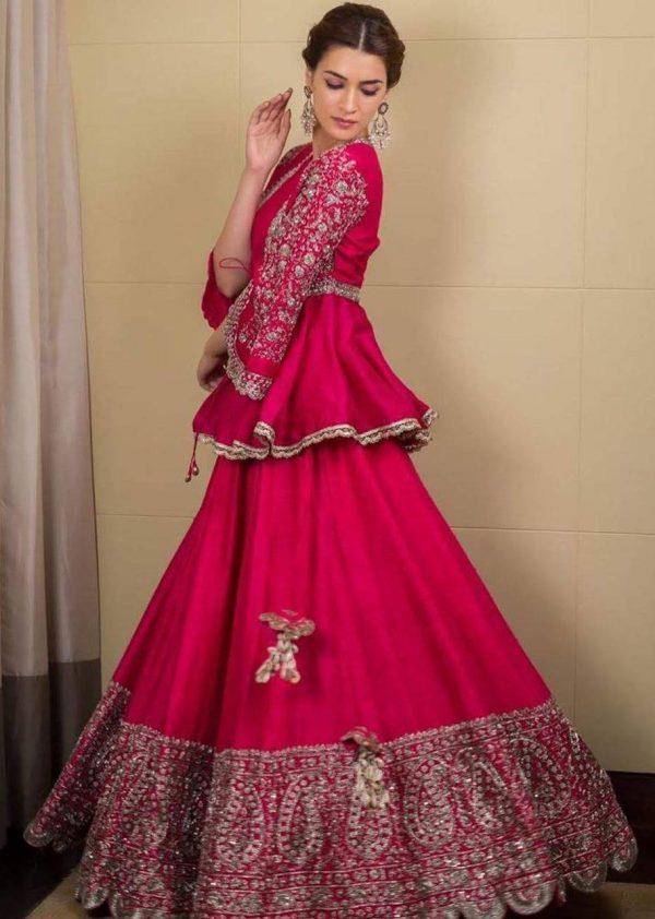 kriti-sanon-in-pink-color-georgette-trendy-designer-lehenga