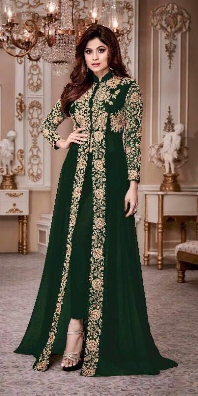 luminous Green Color Georgette Embroidery Anarkali Suit Aashirwad 8001 Party Wedding