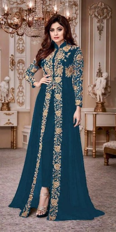 luminous Peacock Blue Color Georgette Embroidery Anarkali Suit Aashirwad 8001 Party Wedding