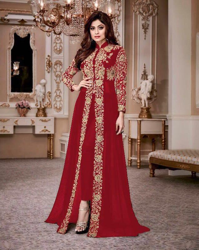 luminous Red Color Georgette Embroidery Anarkali Suit Aashirwad 8001 Party Wedding