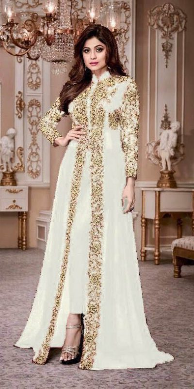 luminous White Color Georgette Embroidery Anarkali Suit Aashirwad 8001 Party Wedding