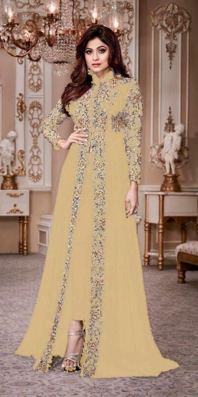 luminous Yellow Color Georgette Embroidery Anarkali Suit Aashirwad 8001 Party Wedding