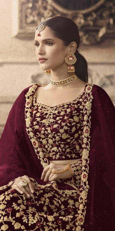 maisha-womens-maroon-color-net-with-embroidered-lehenga-choli-for-womens