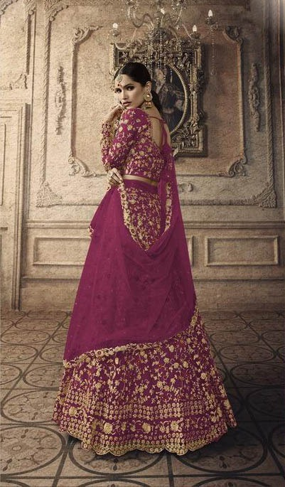 maisha-womens-wine-color-net-with-embroidered-lehenga-choli-for-womens