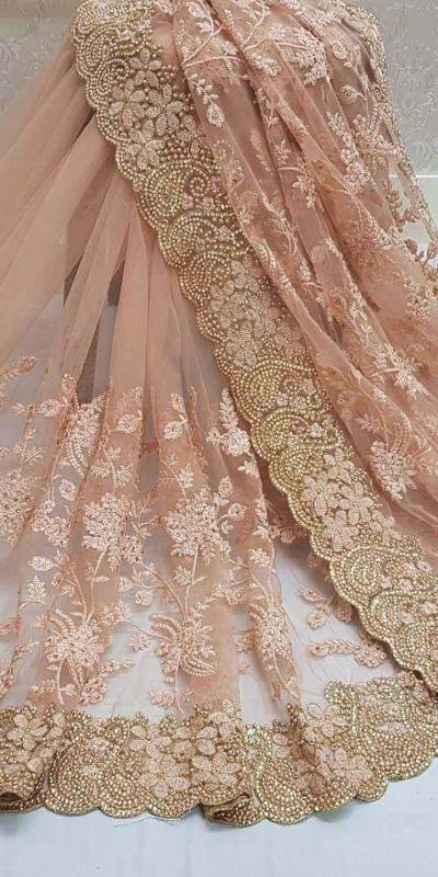 peach-color-heavy-mono-net-and-embroidery-stone-work-saree