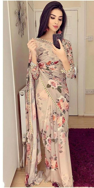 pretty-cream-color-georgette-digital-printed-party-wear-saree