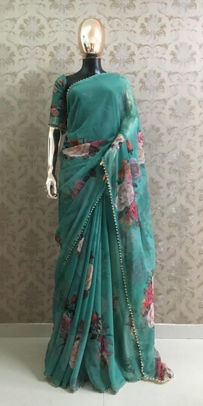 pretty-green-color-georgette-digital-printed-party-wear-saree