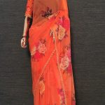 pretty-orange-color-georgette-digital-printed-party-wear-saree