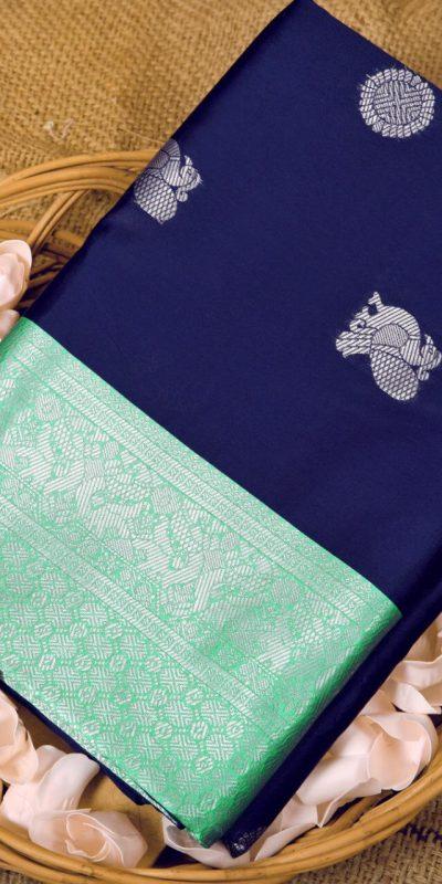 stunning-navy-blue-color-kanchipuram-silk-woven-saree