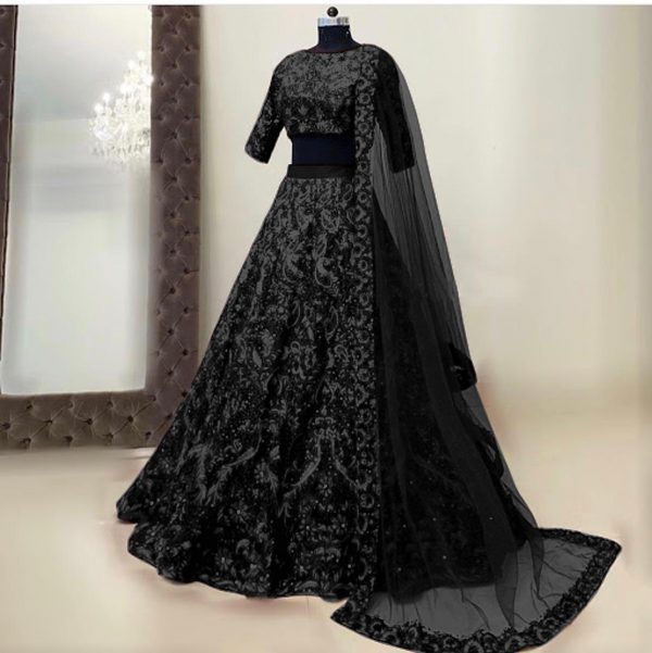womens-wear-black-color-taffeta-silk-mirror-and-stone-work-designer-lehenga