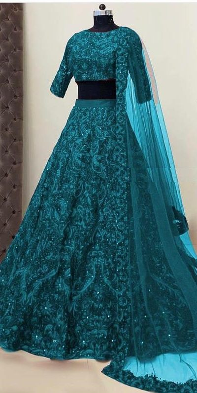 womens-wear-cerulean-blue-color-taffeta-silk-mirror-and-stone-work-designer-lehenga