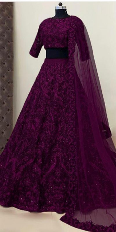 womens-wear-magenta-color-taffeta-silk-mirror-and-stone-work-designer-lehenga