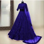 womens-wear-navy-blue-color-taffeta-silk-mirror-and-stone-work-designer-lehenga