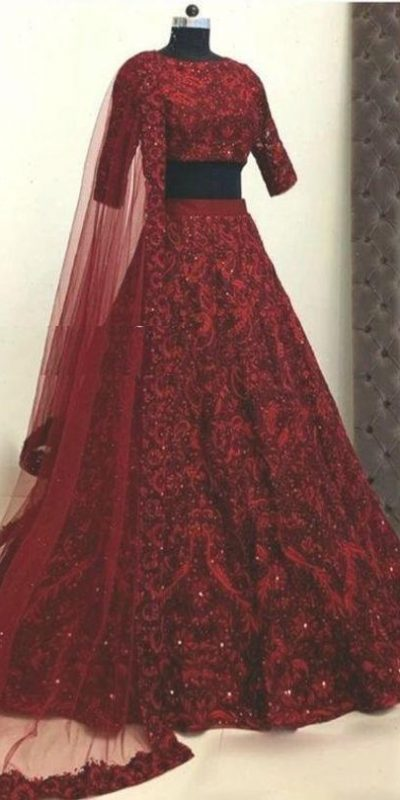 womens-wear-red-color-taffeta-silk-mirror-and-stone-work-designer-lehenga