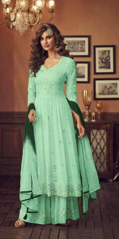 zoya-sea-green-color-georgette-wedding-wear-sharara-suit