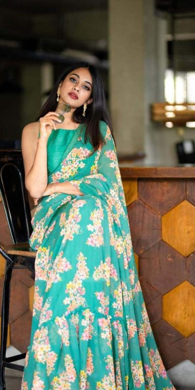 Attractive Green Color Georgette Ruffle With Digital Printed Saree