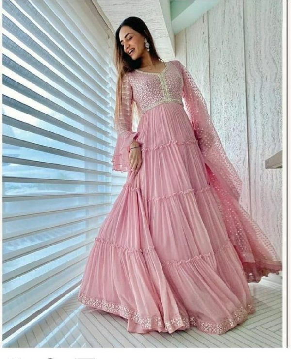 Baby Pink Color Georgette With Embroidery Work New Raffle Style Long Length Gown