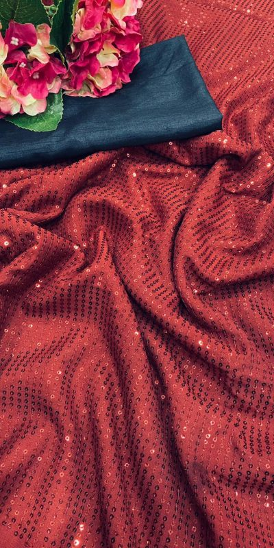 Beauteous Red Color Georgette Sequence Work Saree