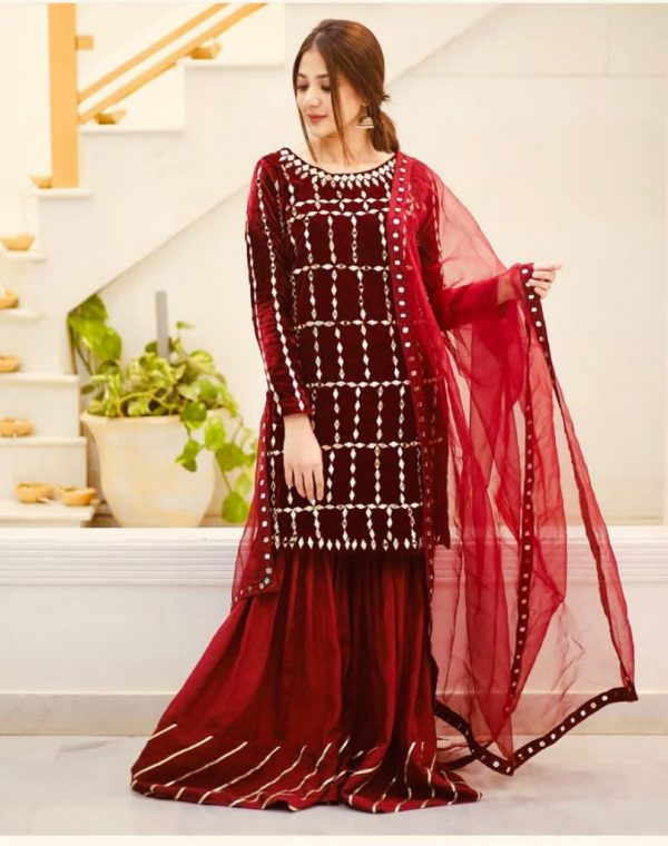 Red Color Original Velvet With Embroidery Real Mirror Handwork Sharara Suit