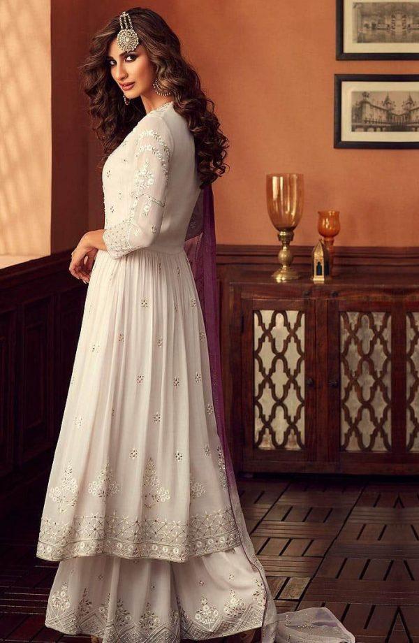 Zoya White Color Georgette Wedding Wear Sharara Suit