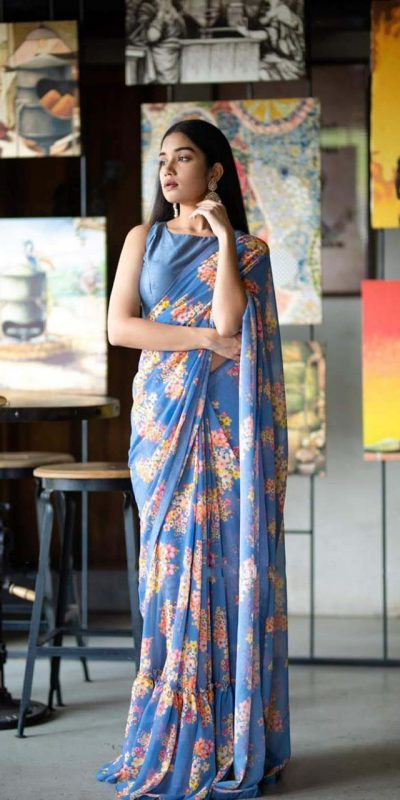 attractive-light-blue-color-georgette-ruffle-with-digital-printed-saree