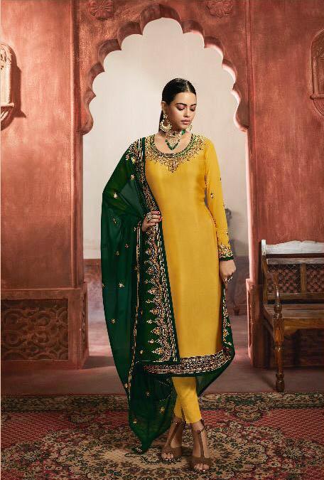 dazzling-yellow-green-color-heavy-satin-festive-wear-sharara-suit