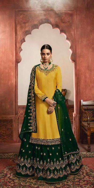 dazzling-yellow-green-color-heavy-satin-festive-wear-sharara-suit