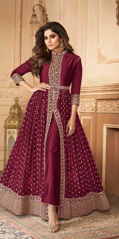 elegant-wine-color-georgette-with-embroidery-work-anarkali-suit