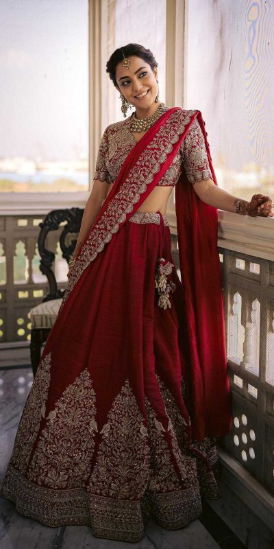 glorious-nisha-agarwal-in-red-color-bridal-lehenga-at-kajal-wedding-event