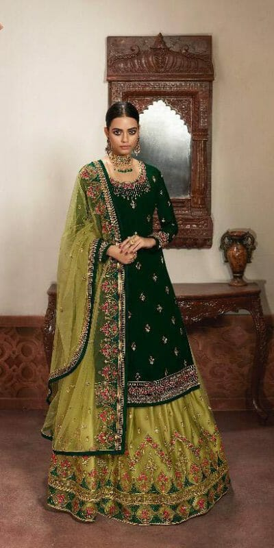 gorgeous-green-color-heavy-georgette-with-multi-work-sharara-suit
