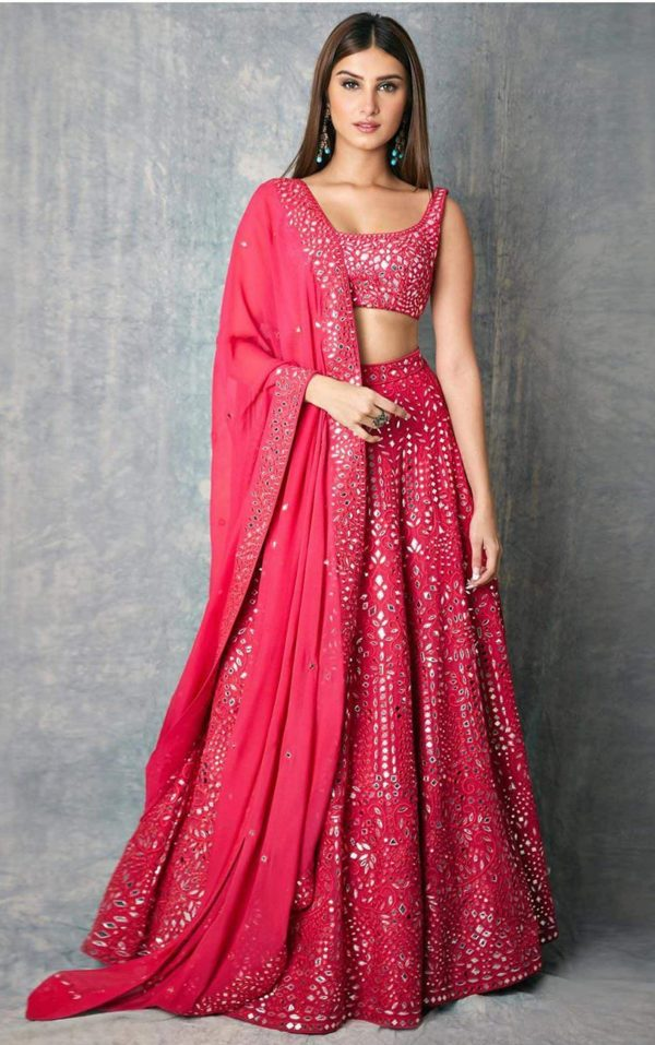heavenly-tara-sutaria-in-pink-color-bollywood-bridal-lehenga