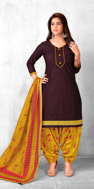 pranjana-brown-color-pure-cotton-printed-kurti-with-patiala