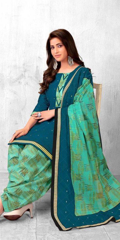 pranjana-peacock-blue-color-pure-cotton-printed-kurti-with-patiala