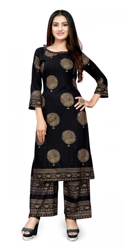 radiant-black-color-rayon-with-golden-printed-kurti-with-plazzo