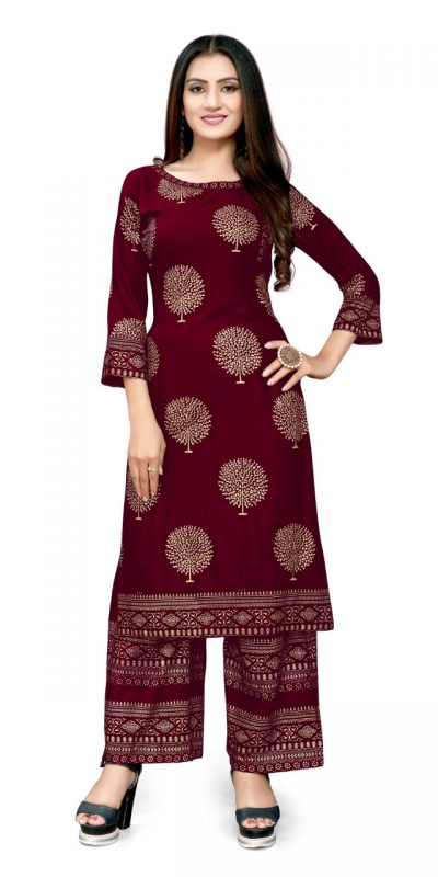 radiant-red-color-rayon-with-golden-printed-kurti-with-plazzo