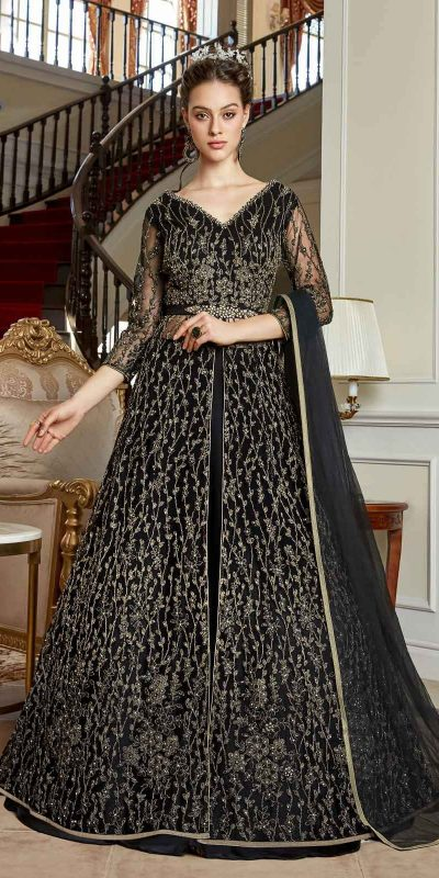 stunning-black-color-heavy-net-with-coding-sequence-work-anarkali